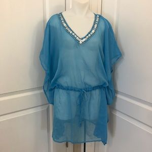 Turquoise Blue Sheer Swimsuit Cover Up